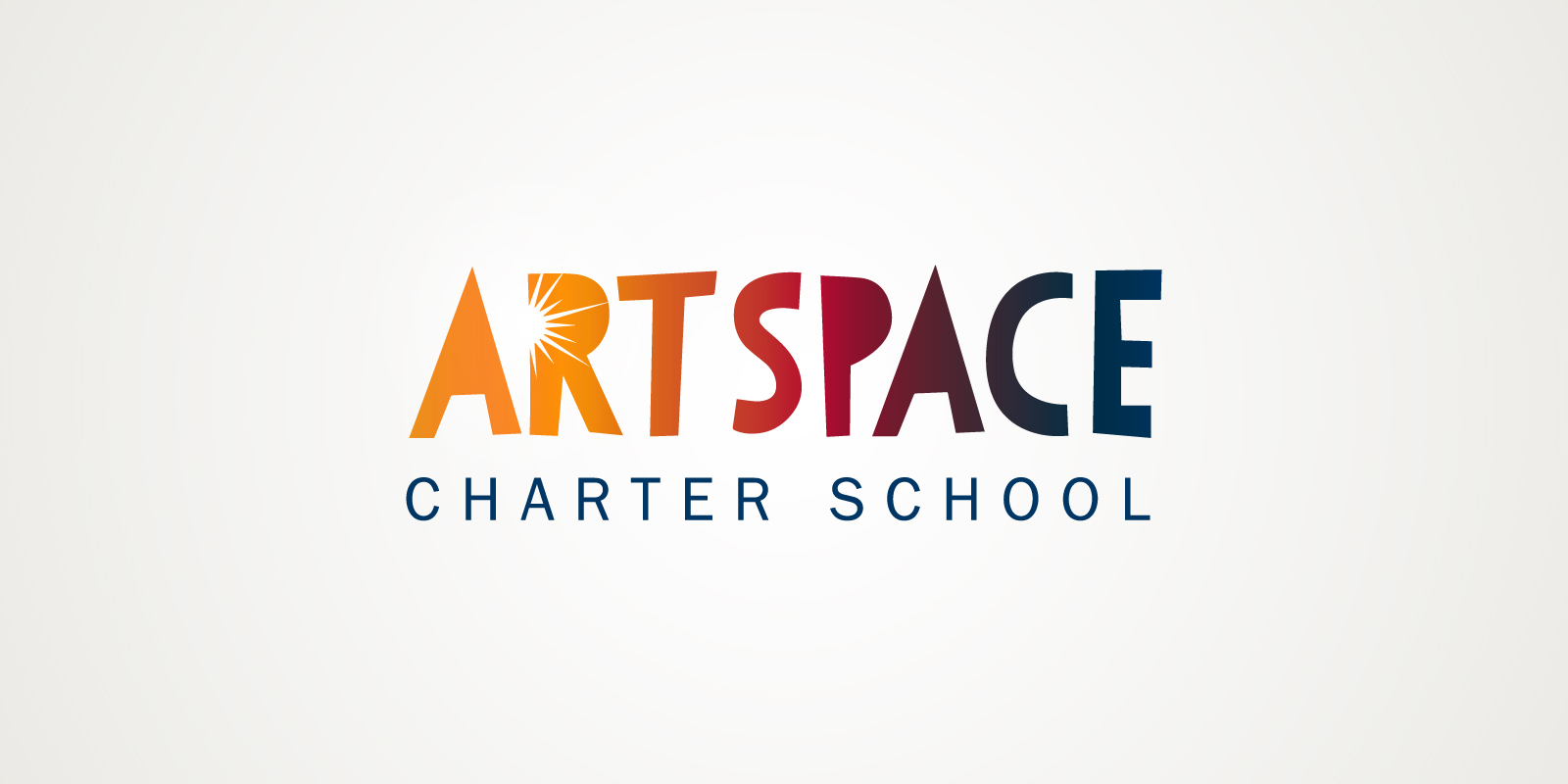 ArtSpace Charter School logo with sunburst gradient fill and spark graphic combined with a playful cut-paper typeface.