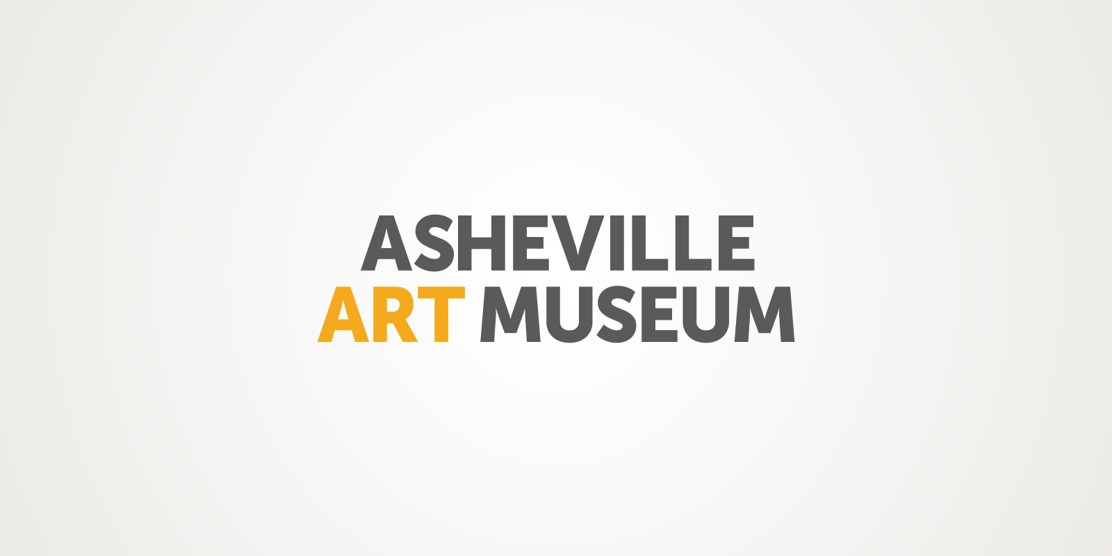 """Asheville Art Museum logo utilizes a modern, all-caps typeface in gray with the word """"ART"""" in gold."""