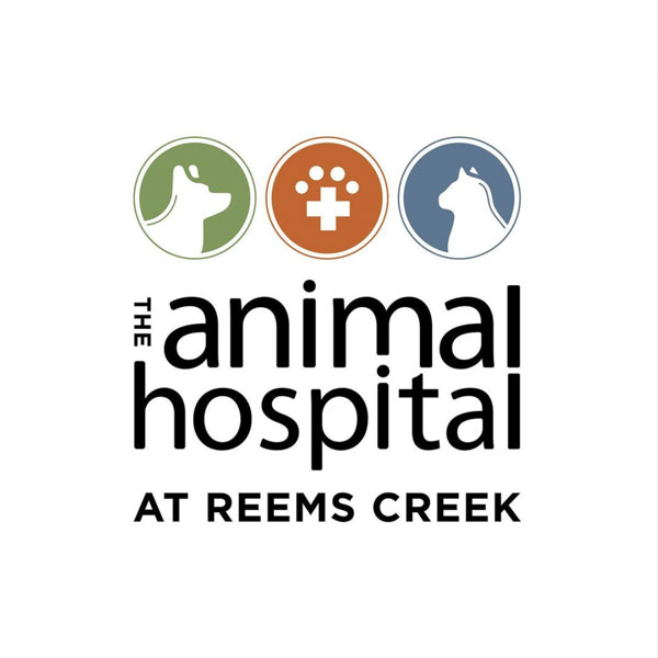 The Animal Hospital at Reems Creek logo with dog and cat icons on white background