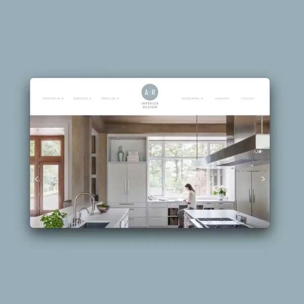 Allard & Roberts website mockup with woman in a modern kitchen