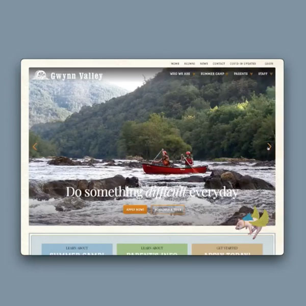 Gwynn Valley Summer Camp website with photo of kids canoeing on a river