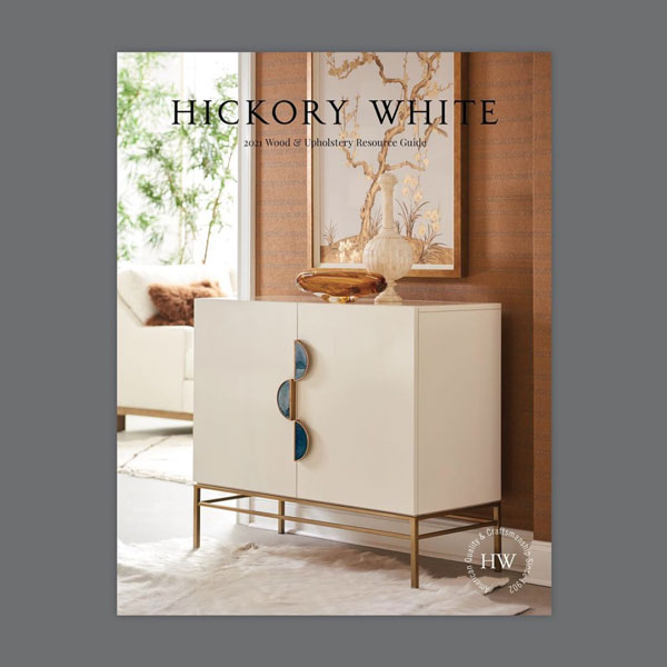 Hickory White Catalog cover with white console in naturally lit room