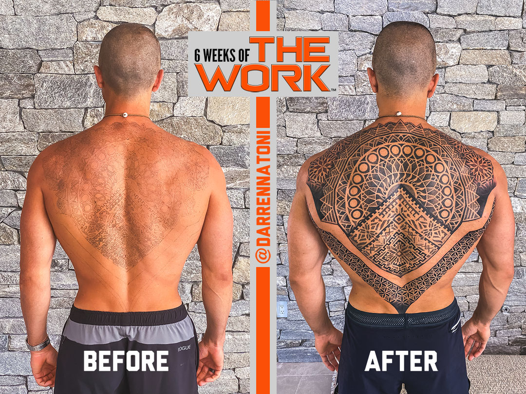 Darren Natoni standing shirtless facing a stone wall showing his back and displaying his results from 6 Weeks of THE WORK