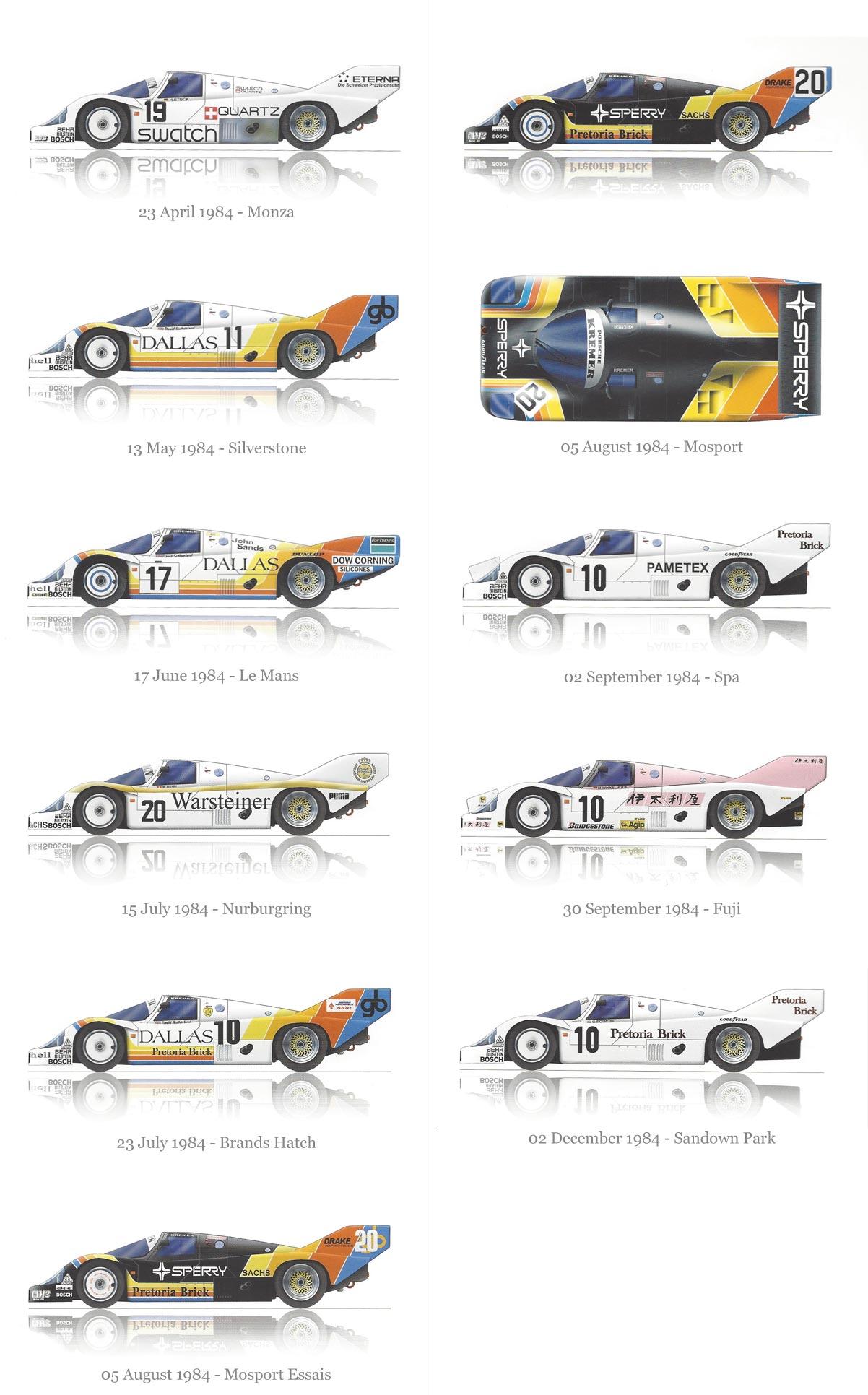 Porsche Kremer Racing, Kremer Racing, Brun Motorsport 1984 livery designs