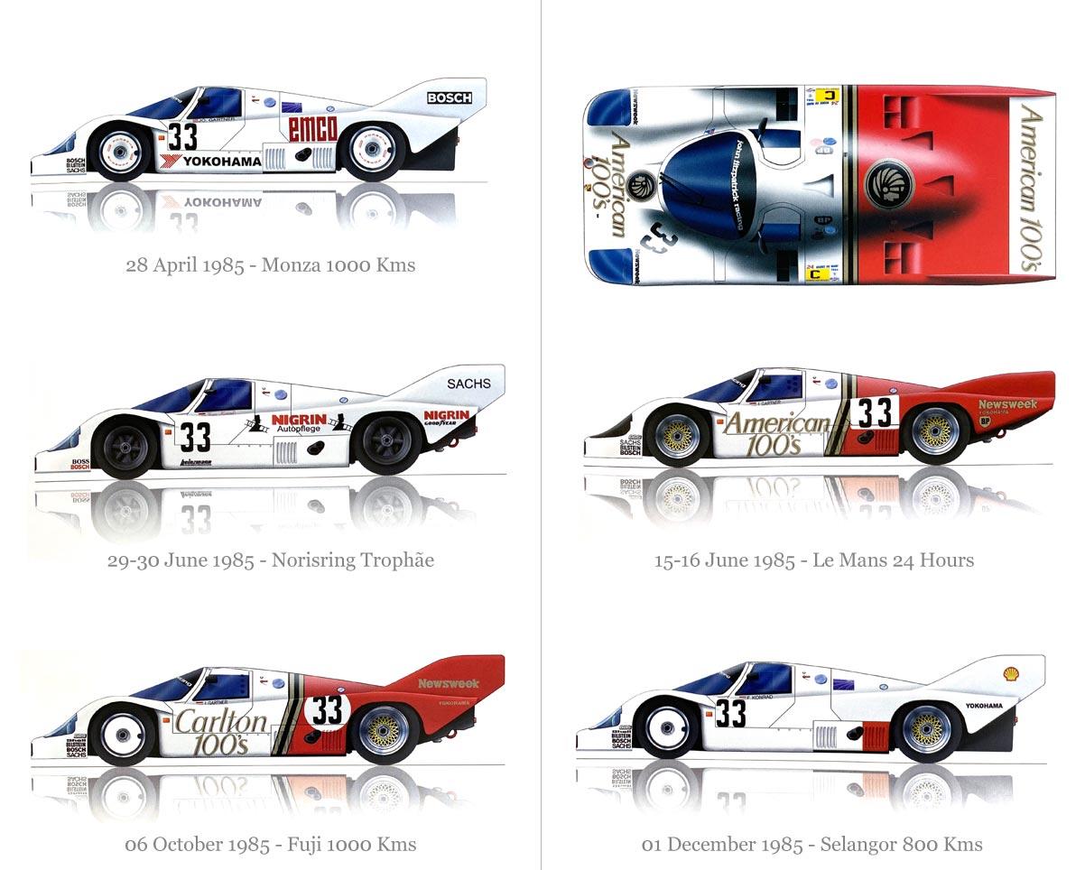 1985 Porsche 956B Racing Car livery designs