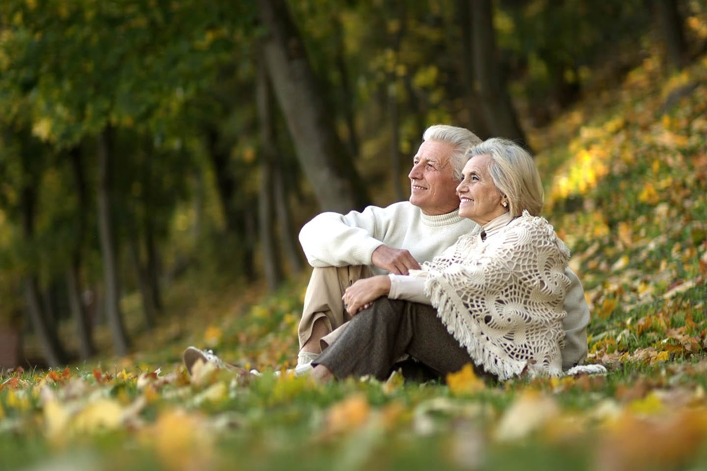 elderly couple sitting in a grass field smiling at the sky