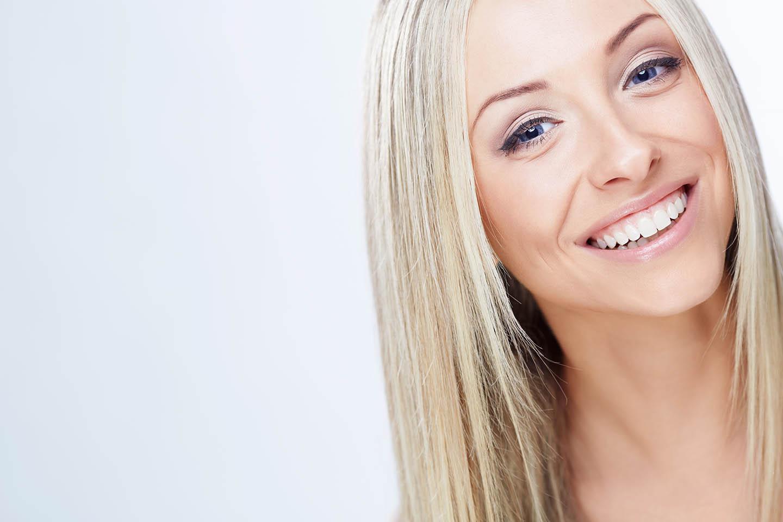 Blonde woman smiling
