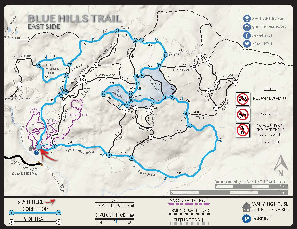 Blue Hills Trail East Side Core Loop Map