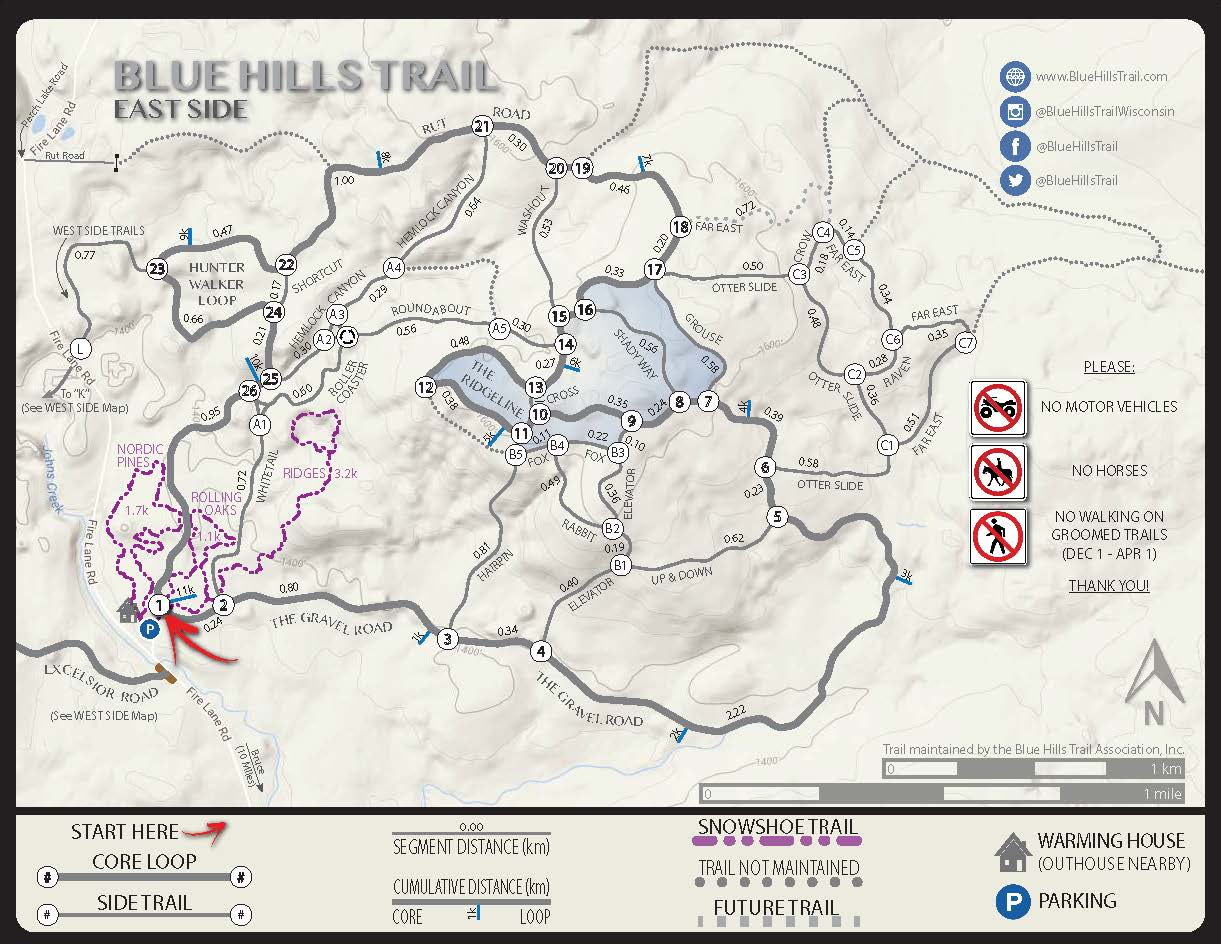 Blue Hills Trail East Side Snowshoe Trails Map