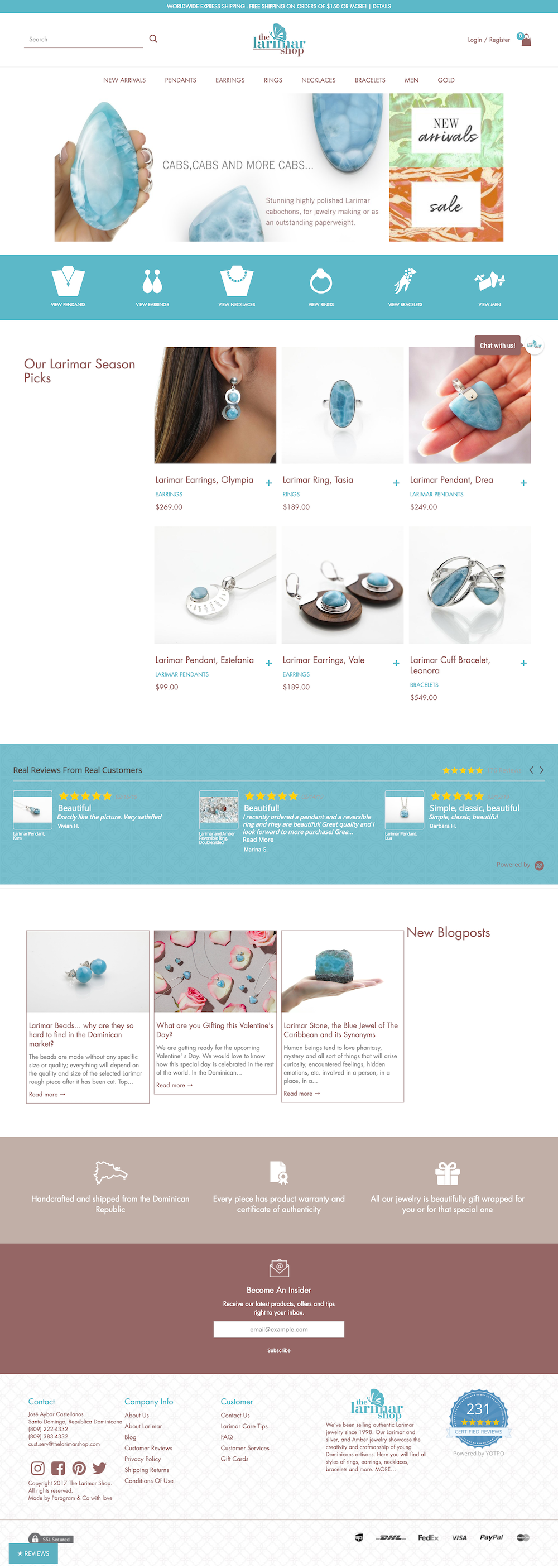 E-commerce Shop Tienda Online Design The Larimar Shop Blue Jewelry Shopify