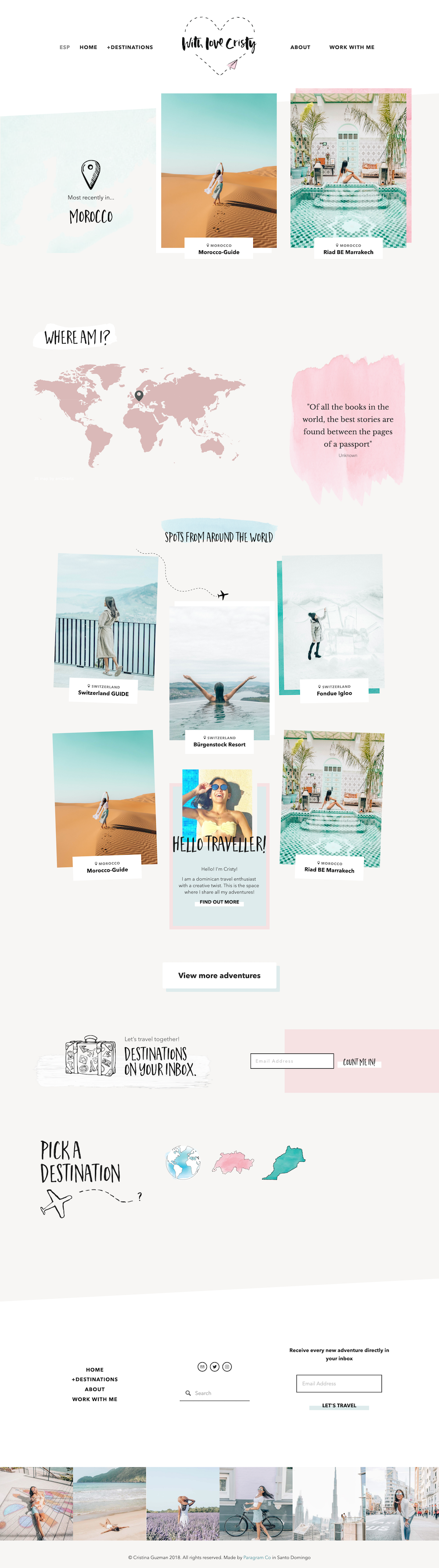 Travelling Instagram Influencer Blog Travel Squarespace Pastel Colors Soft Doodles Handwritten Fun Design Web