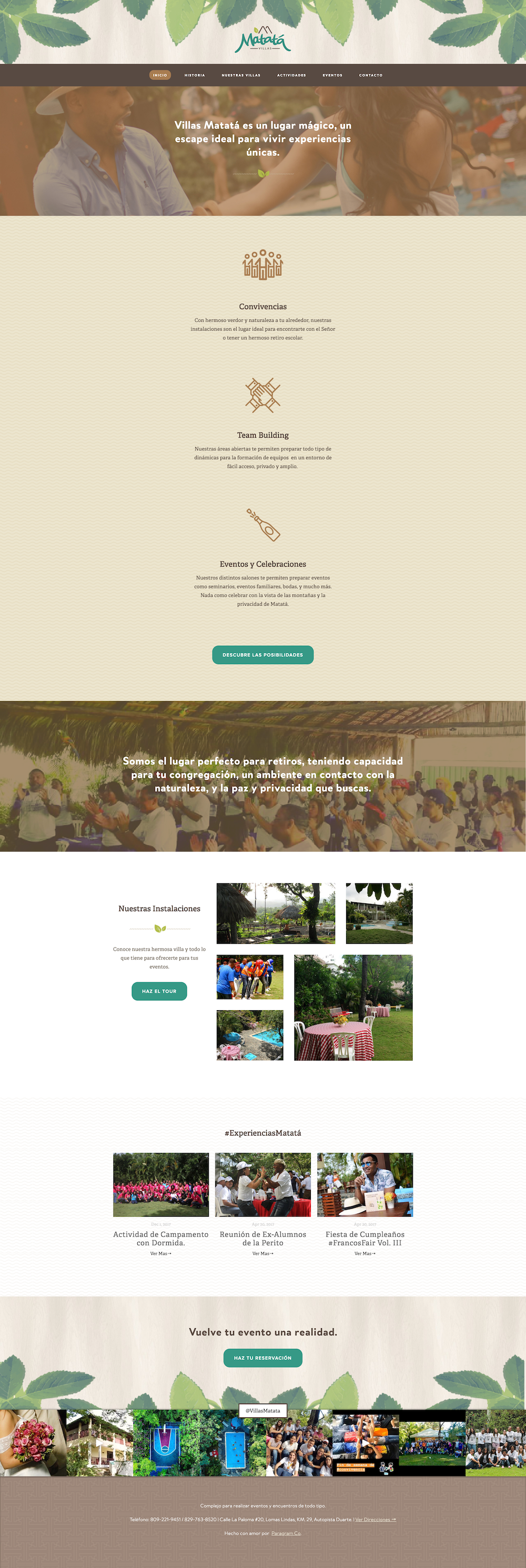 Adventurous Nature Raw Web Design on Squarespace retreat villa