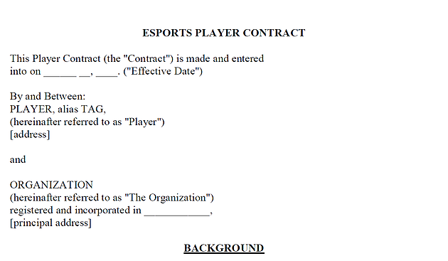 "This image reads ""esports player contract"" at the top, and it is a rough example of what a contract in this industry would entail."