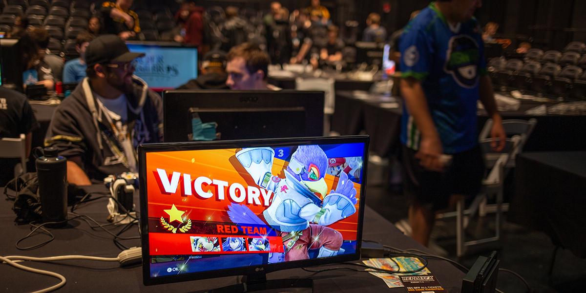 """A television screen shows the Super Smash Bros. character Falco and reads """"victory."""""""