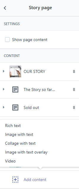 Select content blocks for story page
