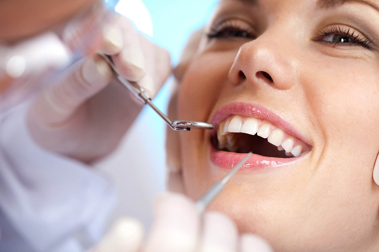 Closeup of restorative dentistry work on a patient