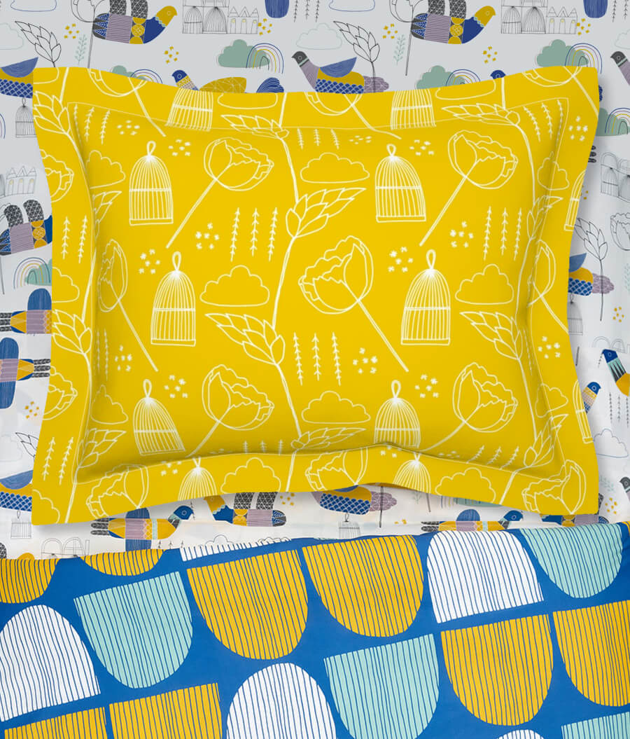 Mustard Yellow Check Cotton Sateen Pillow Sham Bedding by Spoonflower Gingham Pillow Sham Golden Plaid by crystal/_walen