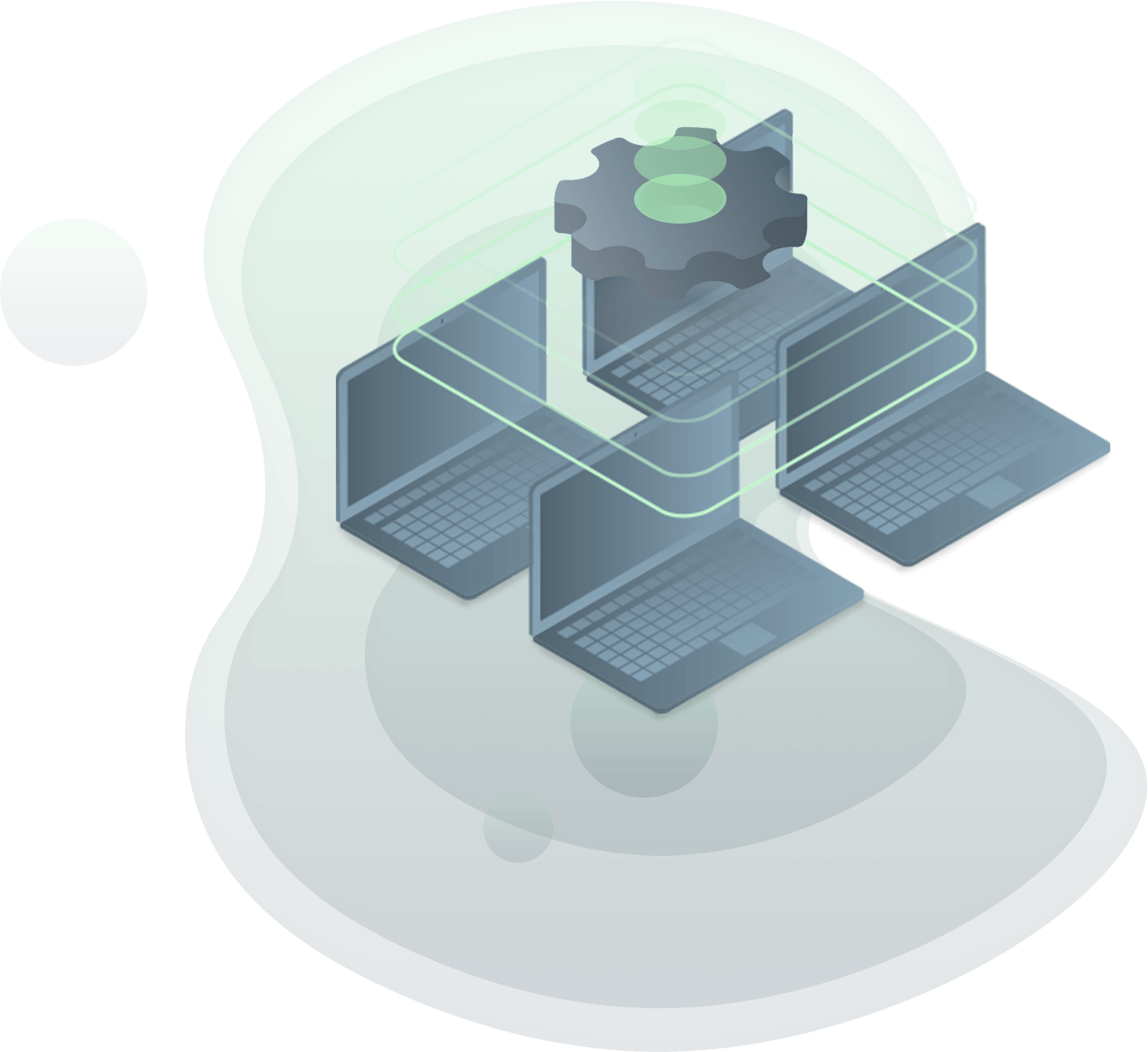 illustration of four computers networked