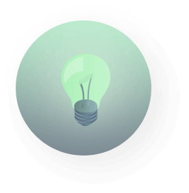Icon of a green circle with a lightbulb inside of it