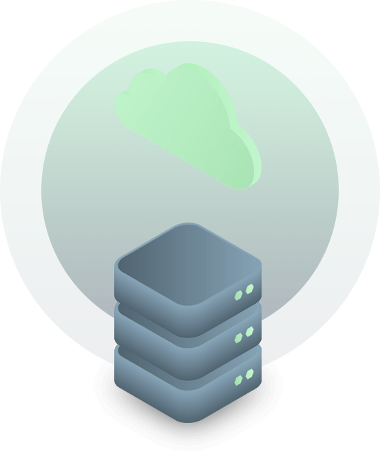 illustration of data center servers with a cloud icon
