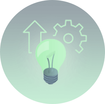 business cabling Icon with lightbulb arrow and cog