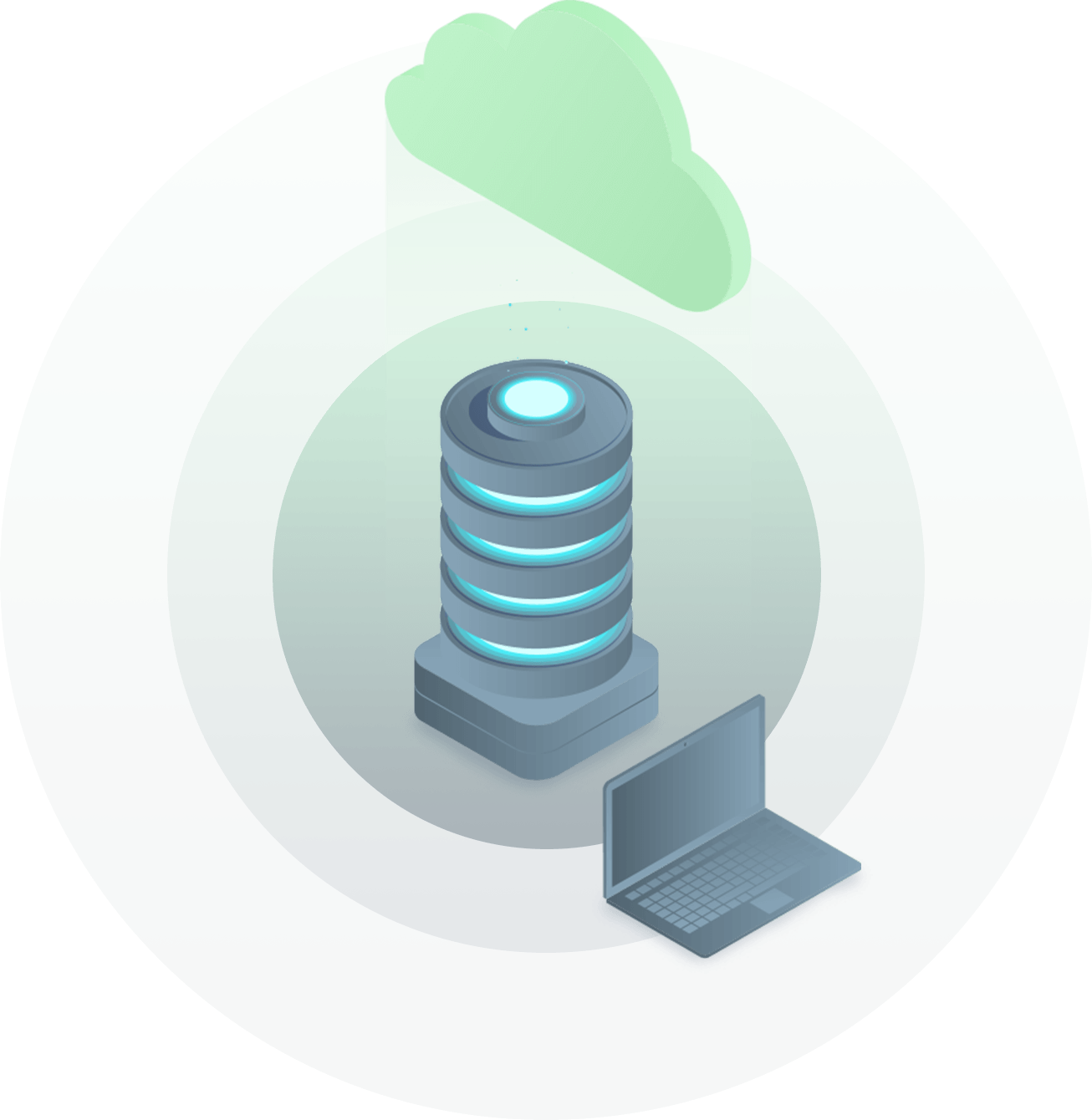 cloud server with laptop illustration