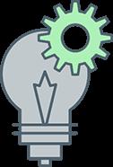 illustration of lightbulb with cog