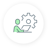 Icon with a cog wheel and person with a laptop managed it solutions