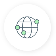 Icon of a globe with green dots it services