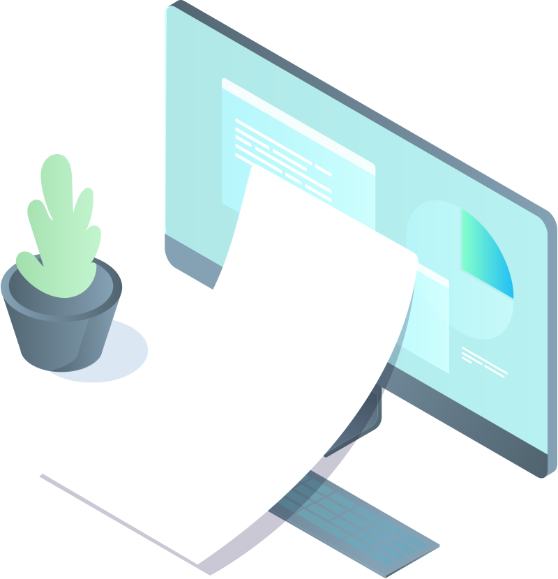 Computer with paper and plant illustration