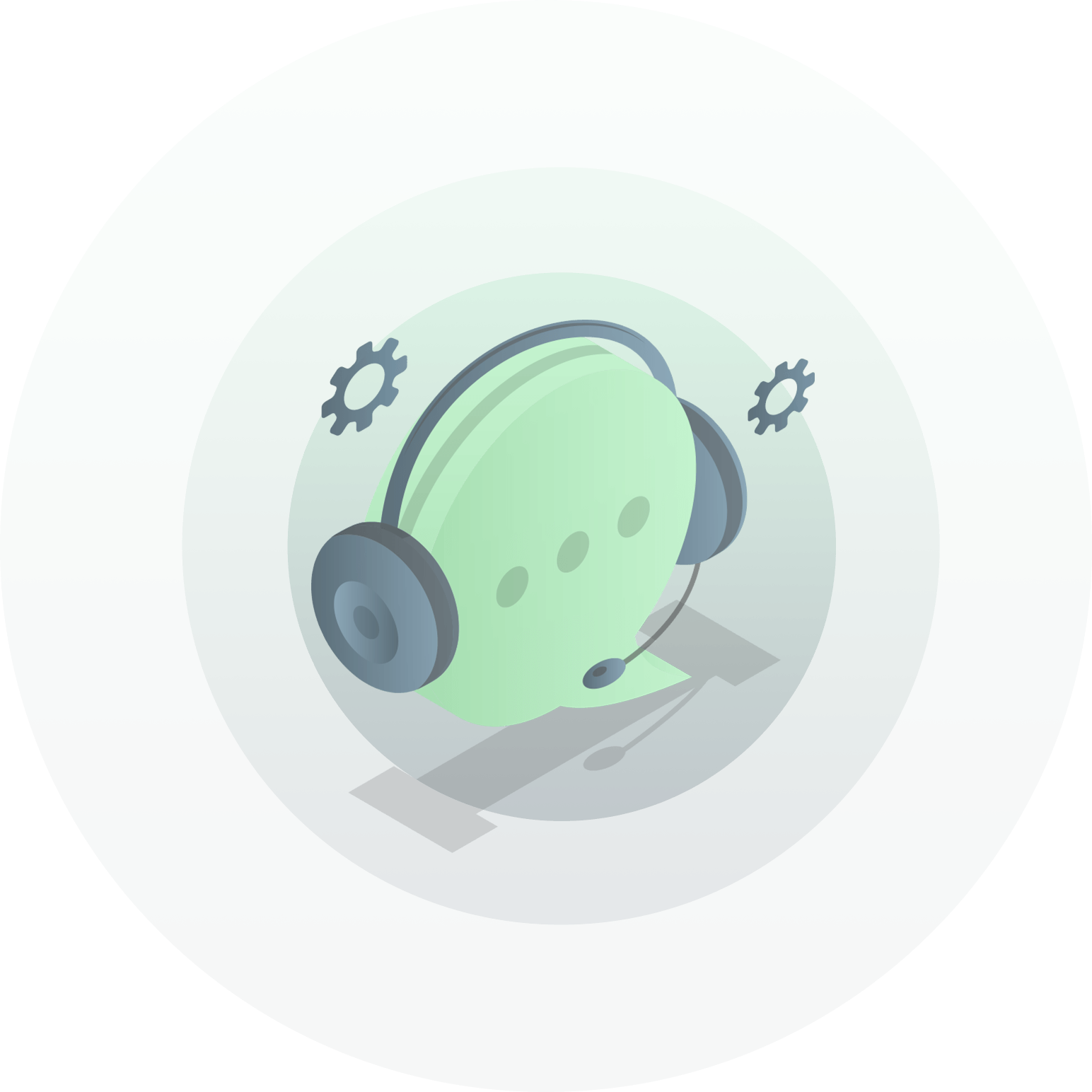 illustration of head set on contact bubble
