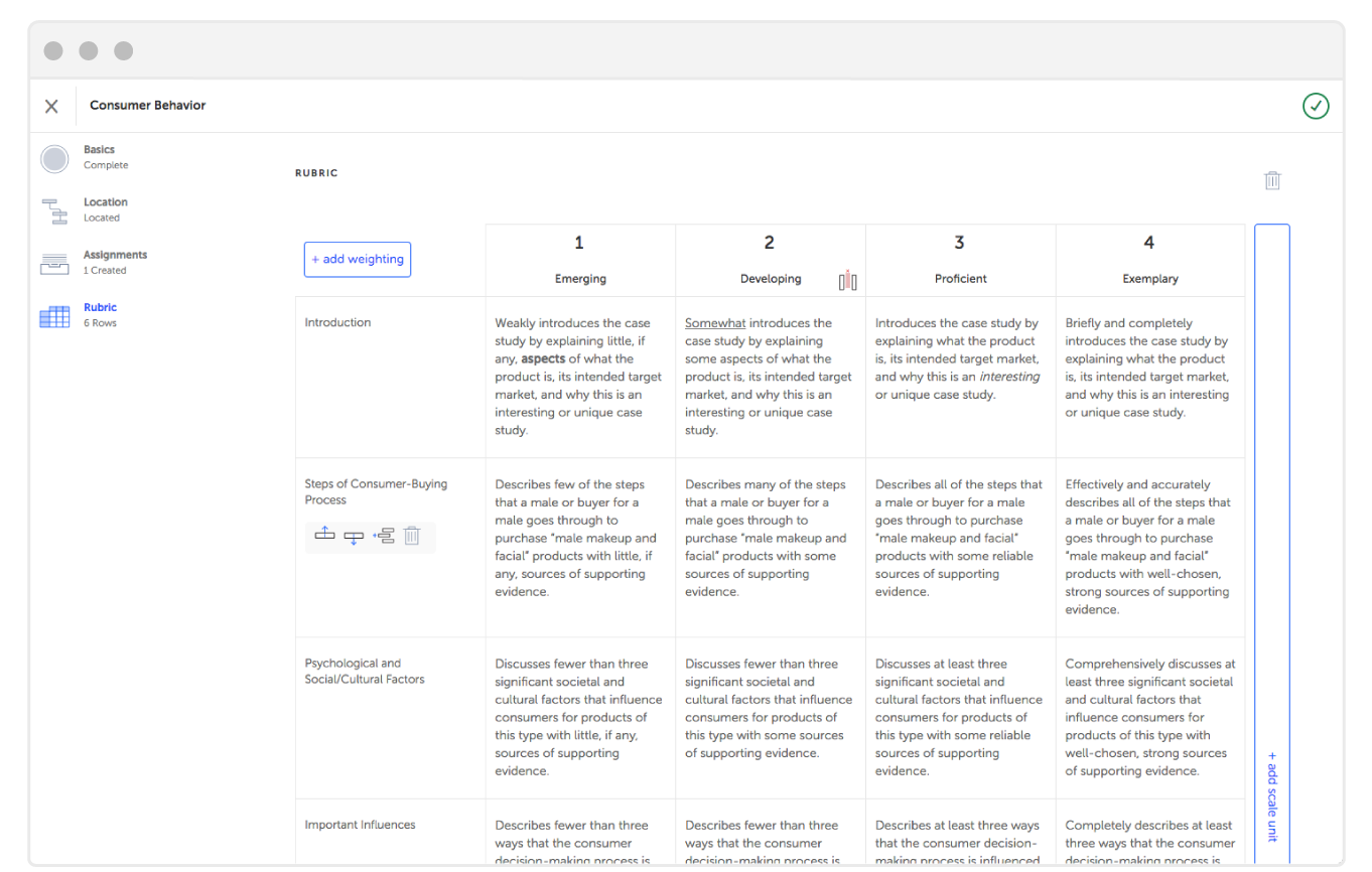 Easy to create Rubric from Strut Learning