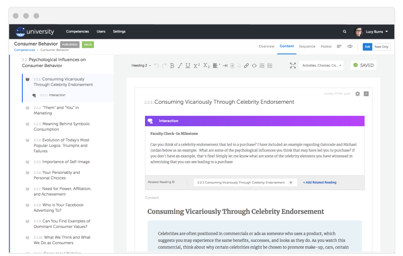 Edit, Personalize, and Publish from the Strut Learning Content Library