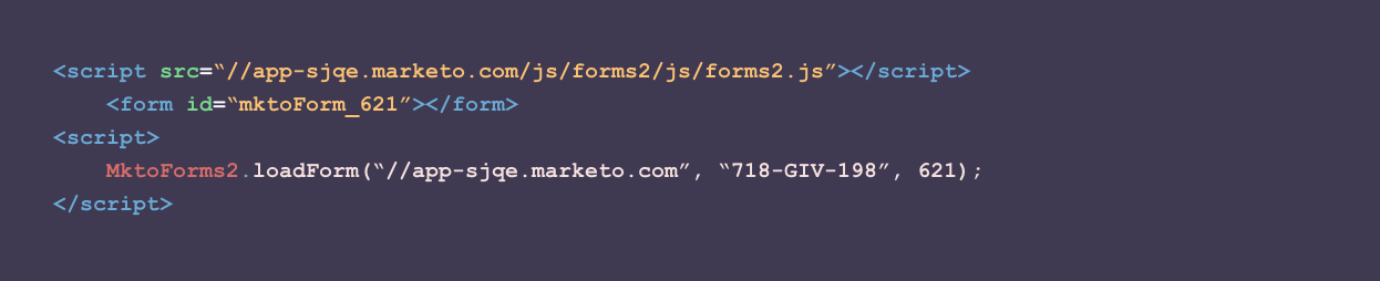 The HTML behind the Marketo lead form shown above