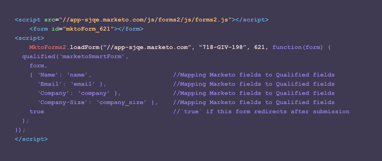Additional javascript to turn a Marketo lead form into a smart form