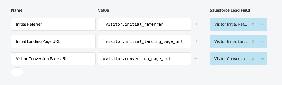 Tracking referrers, landing pages, and conversion pages; mapping to Salesforce