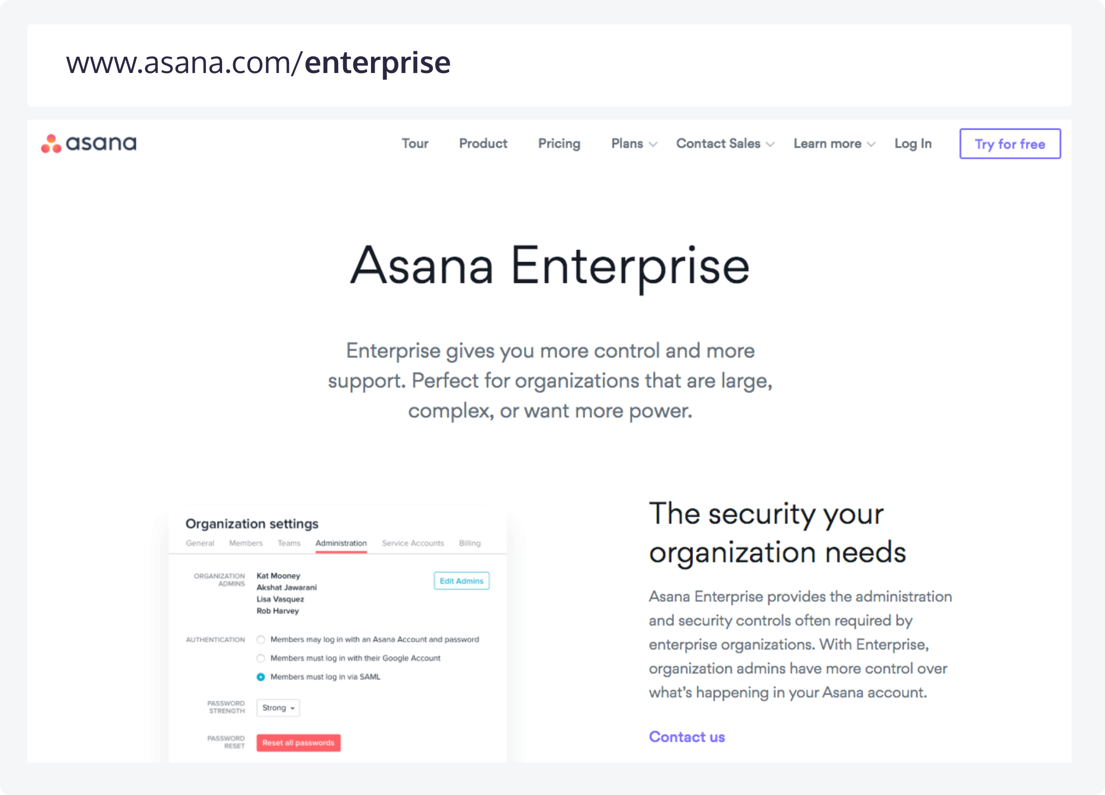 Asana's website page (and branch) for enterprise prospects and its corresponding URL