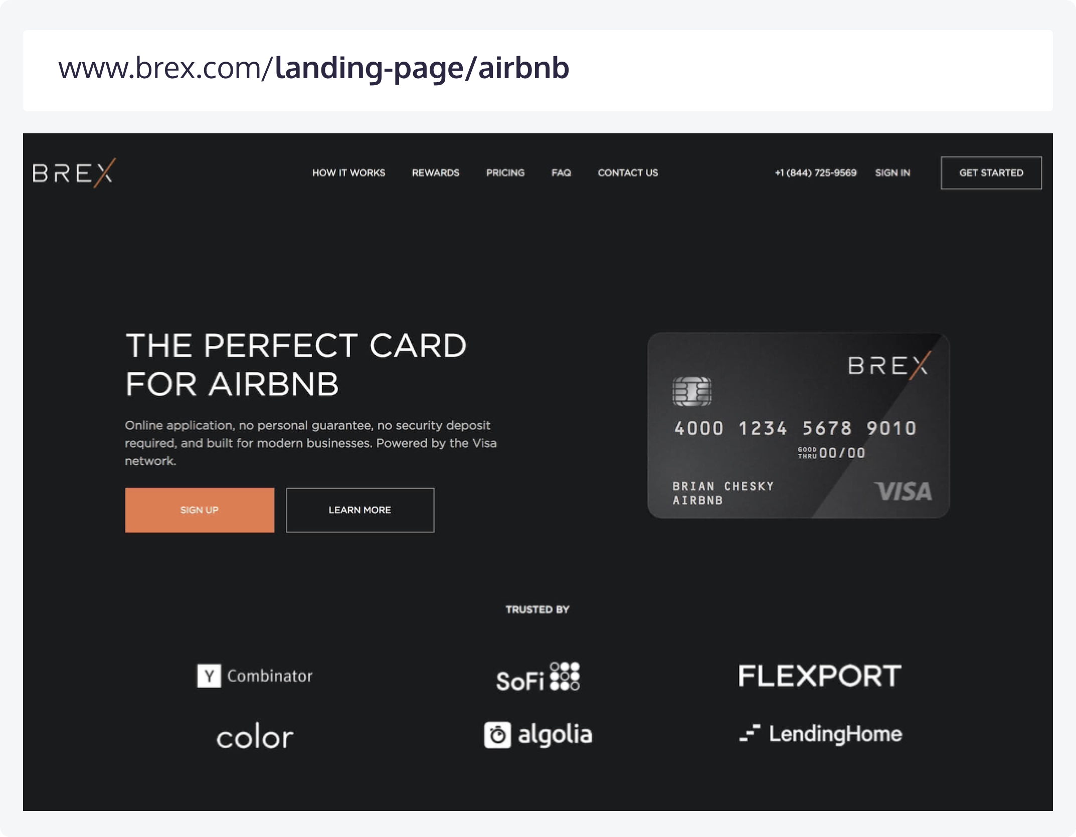 A campaign landing page used by Brex and its corresponding URL