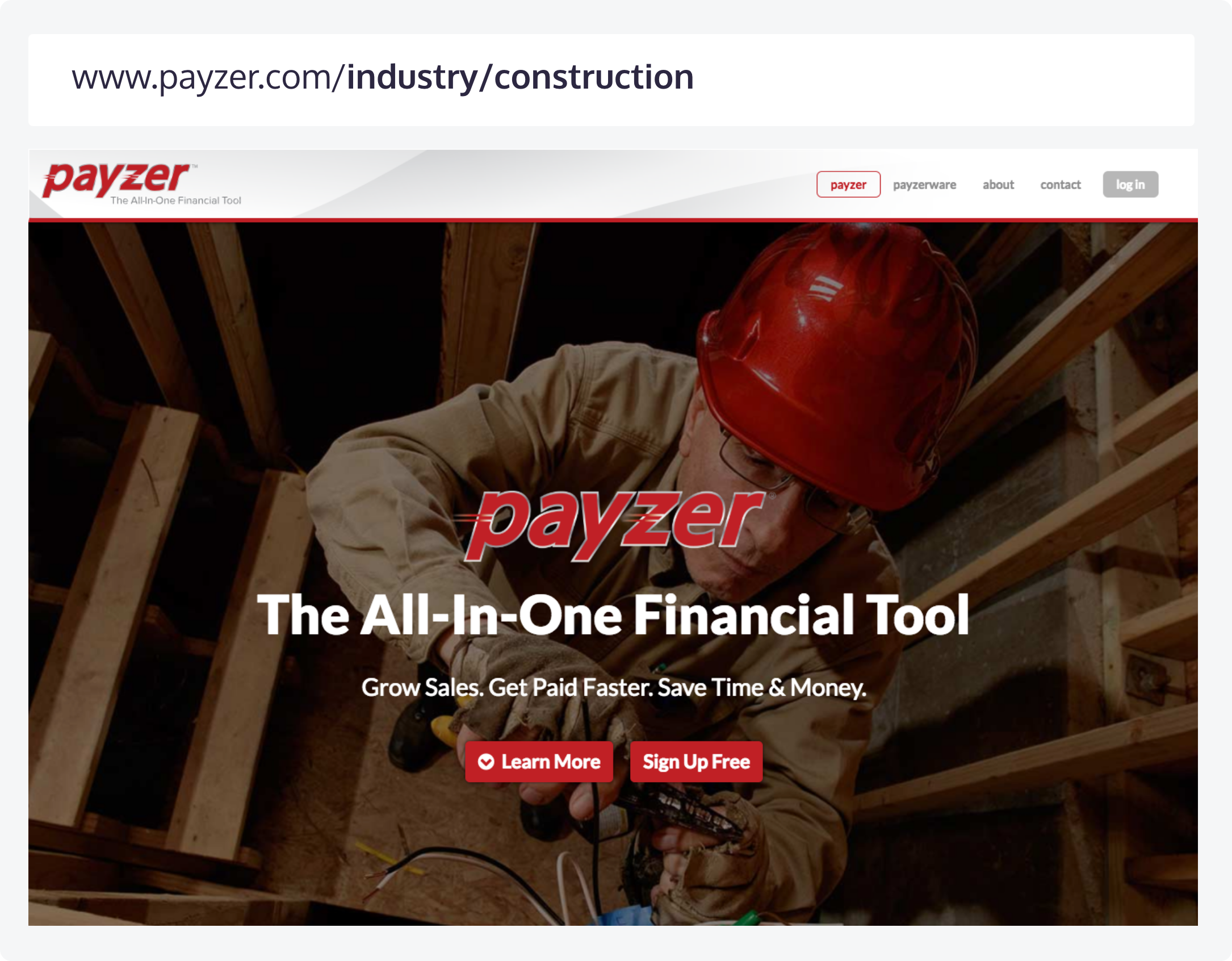 An industry specific page at Payzer and its corresponding URL