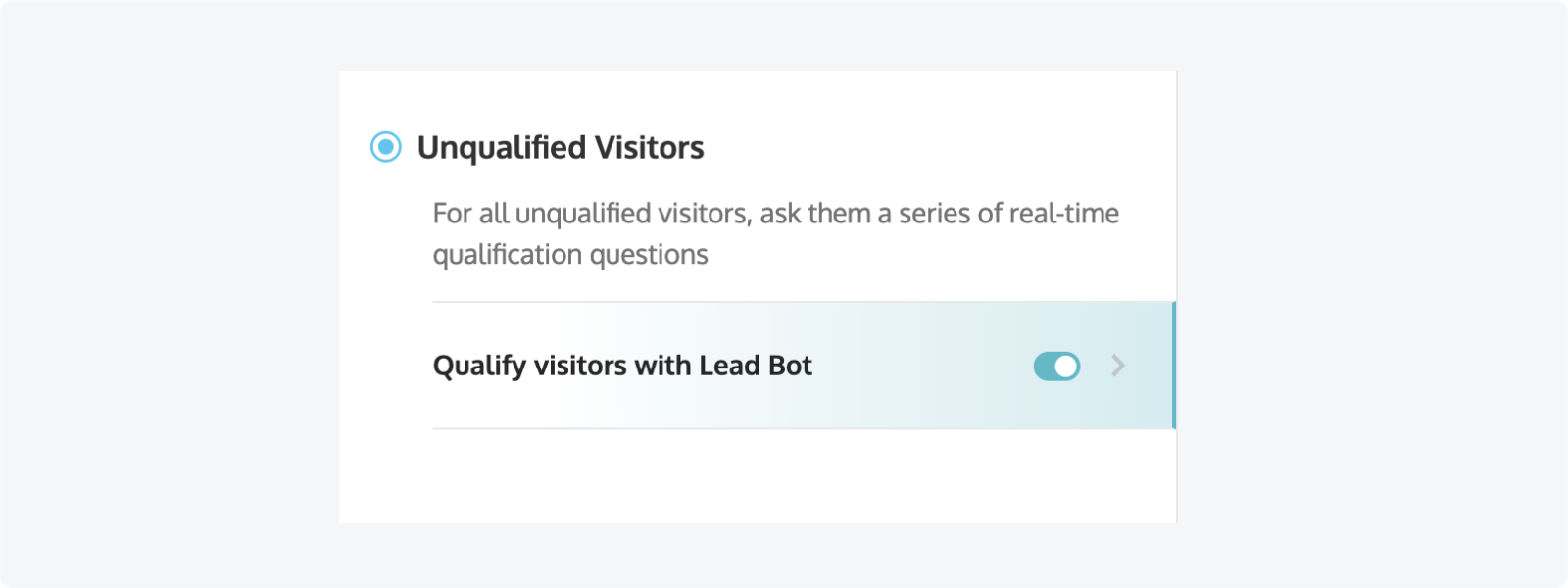 LeadBot settings found in Settings > Qualify Visitors with LeadBot