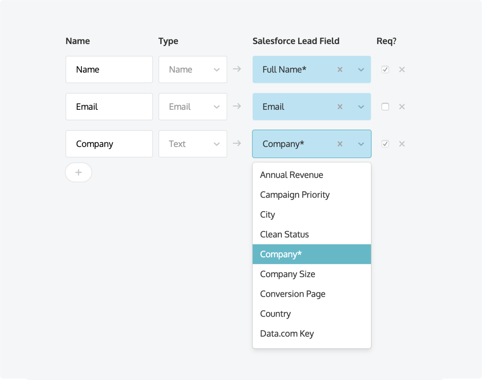 Mapping required fields such as Name, Email, and Company to Salesforce
