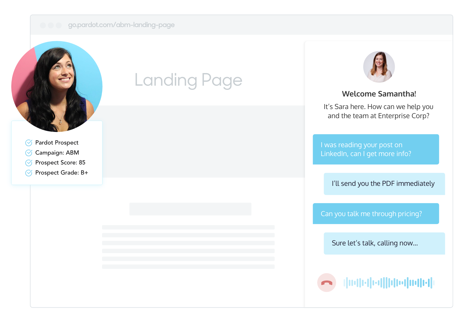 Using conversational marketing to engage a prospect that meets Pardot score and grade criteria