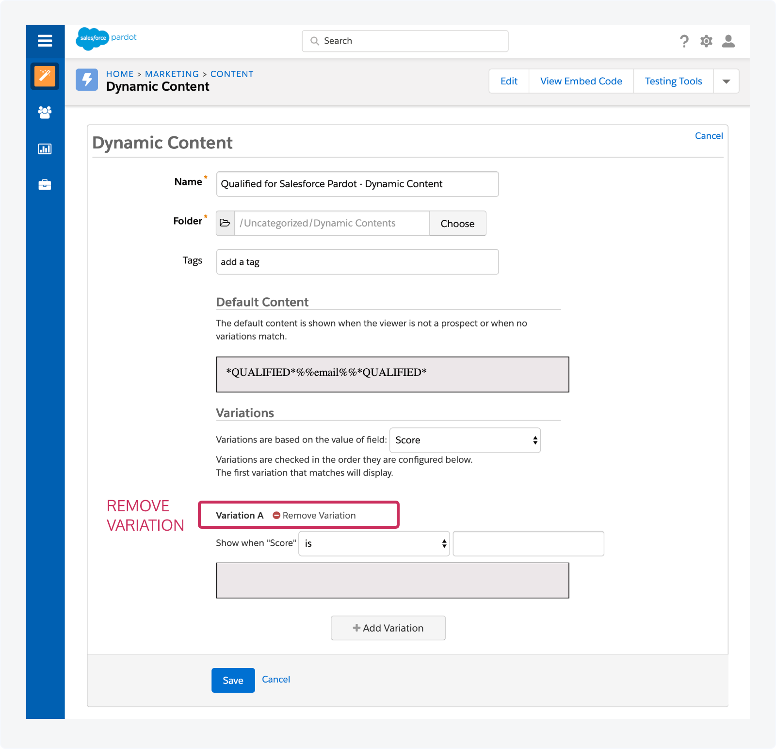 Remove any Pardot Dynamic Content variations