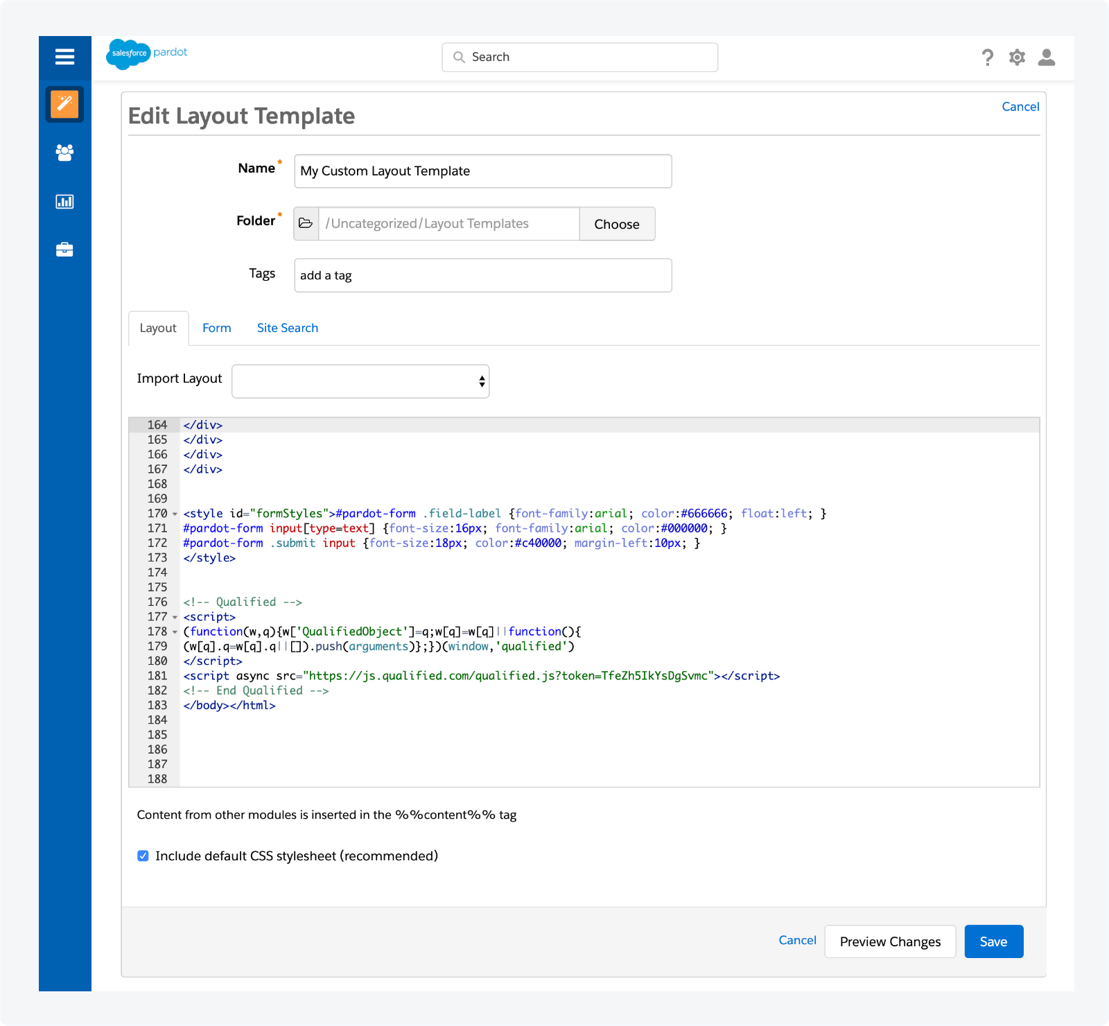 Adding the Qualified javascript snippet to your Pardot custom layout templates