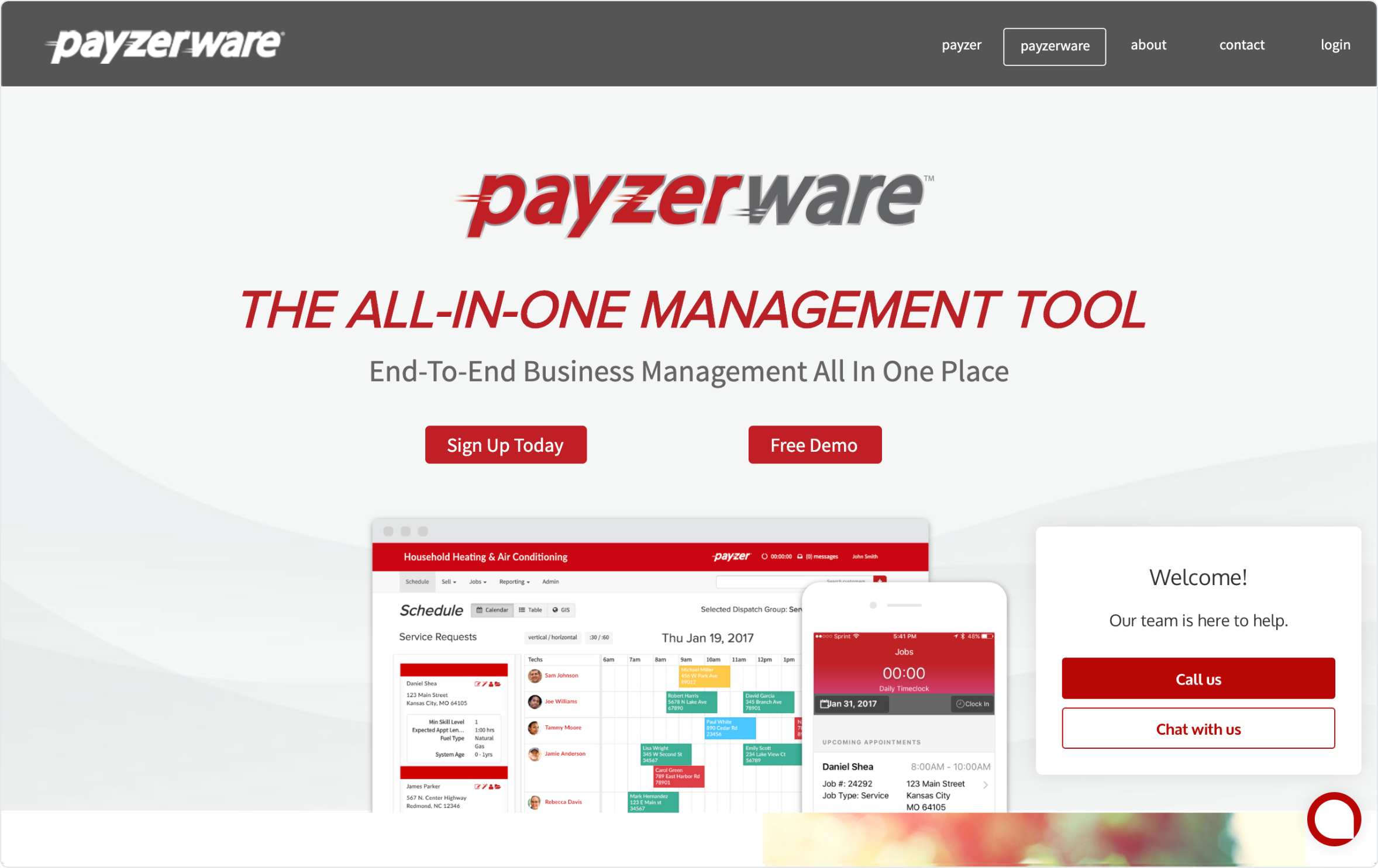 Payzer using Qualified's conversational marketing solution on their website