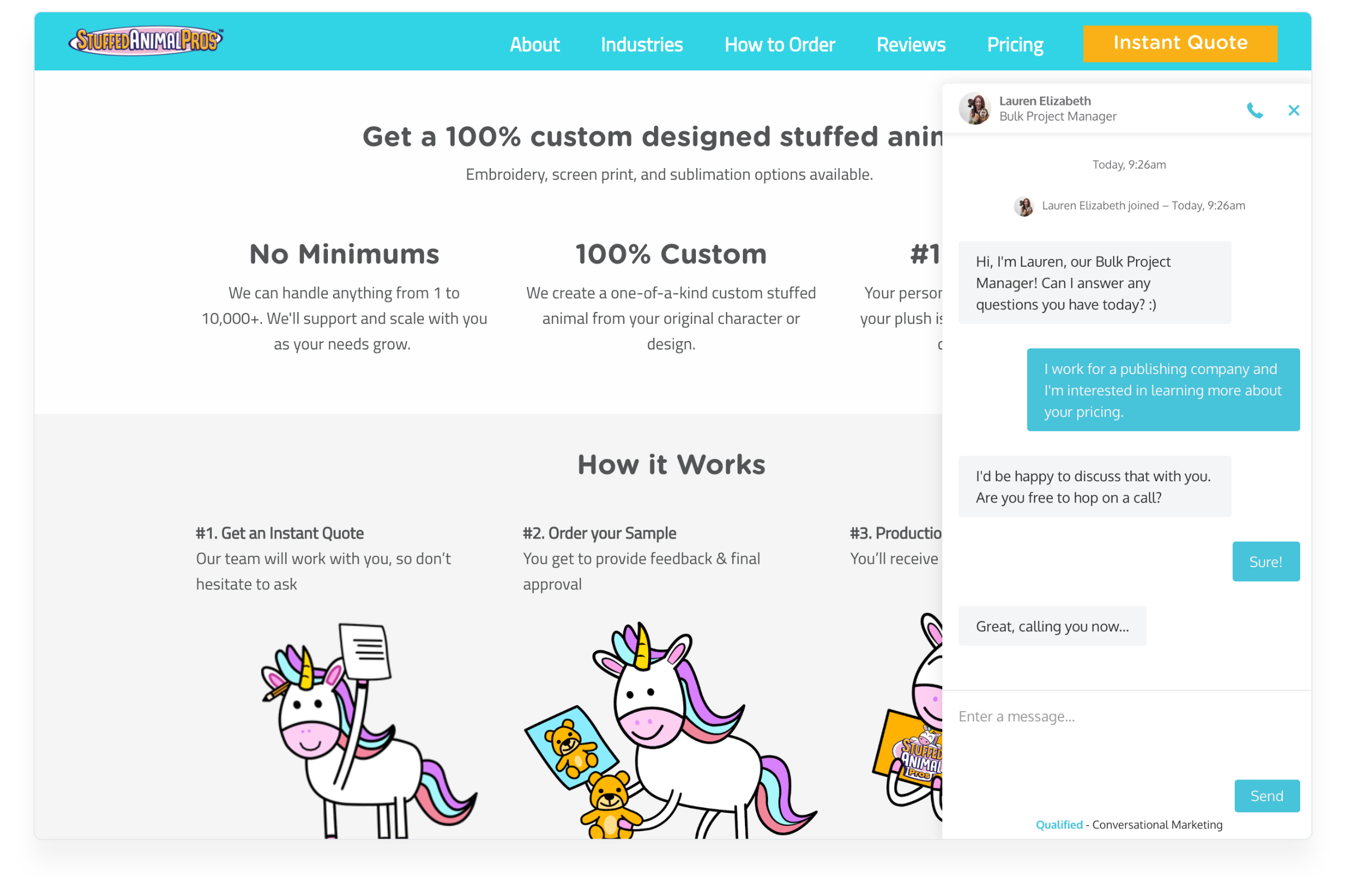 Stuffed Animal Pros uses Qualified to have real-time sales conversations on their website