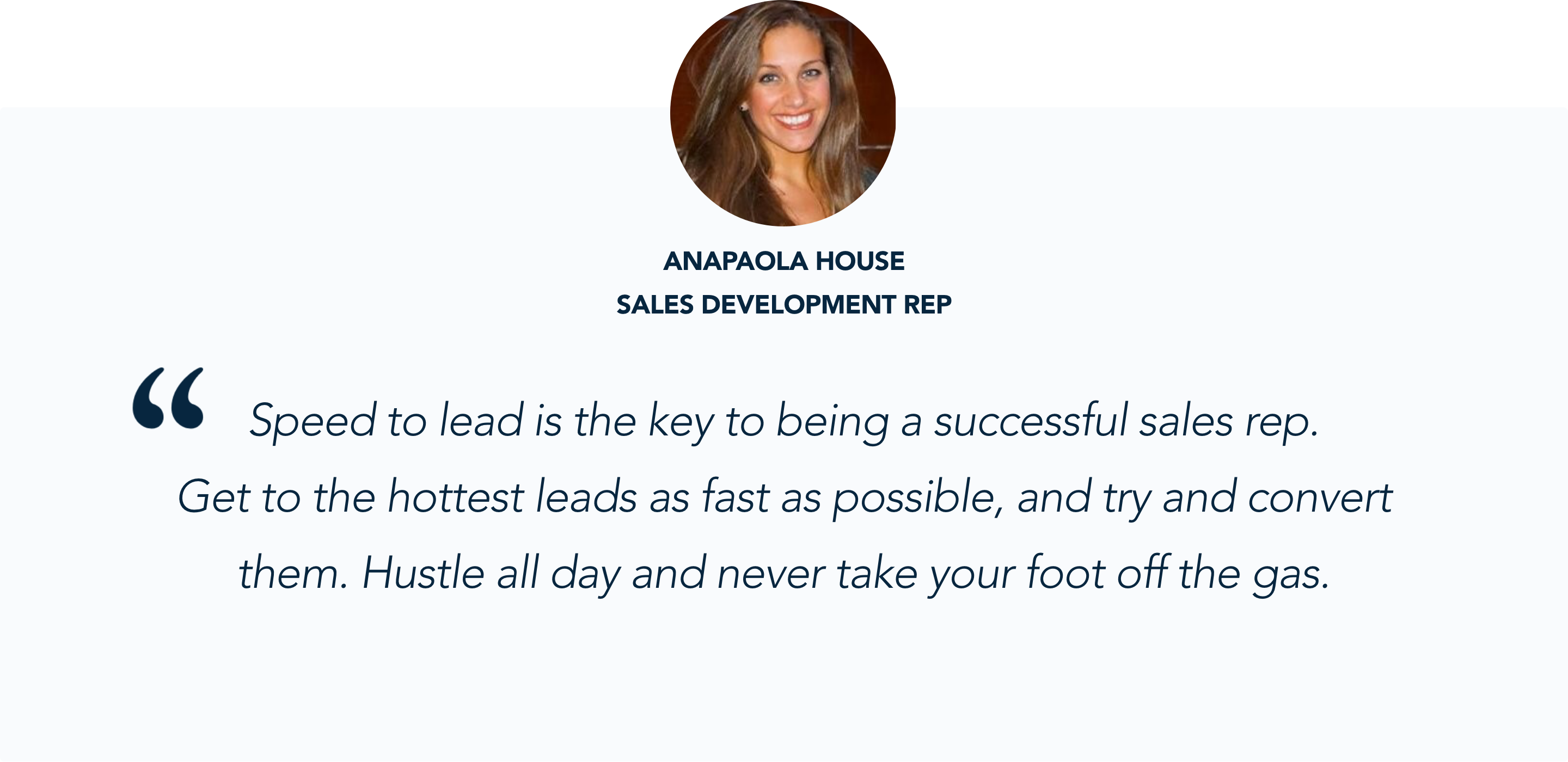 Salesforce SDRs Anapaola House talks about speed to lead