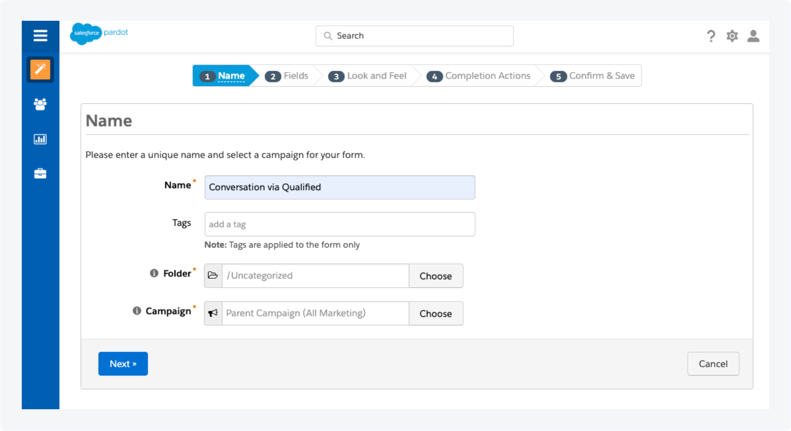Creating a Pardot Form to Track Qualified Conversations as Activities Step 2