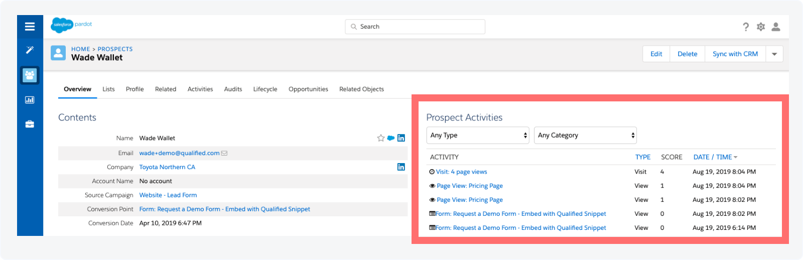 Activity History on a Pardot Prospect Record