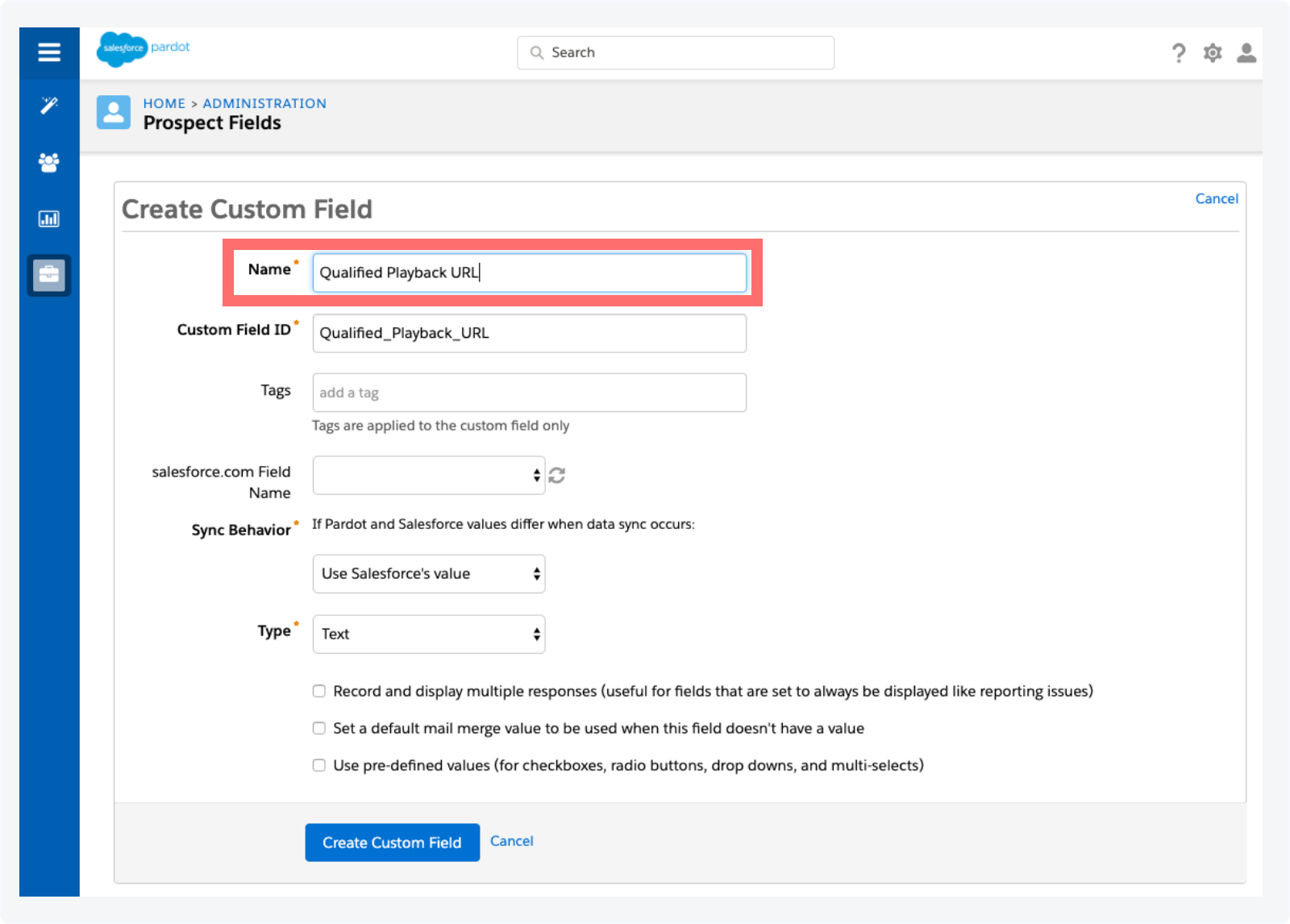 Creating a custom field in pardot to store the playback URL
